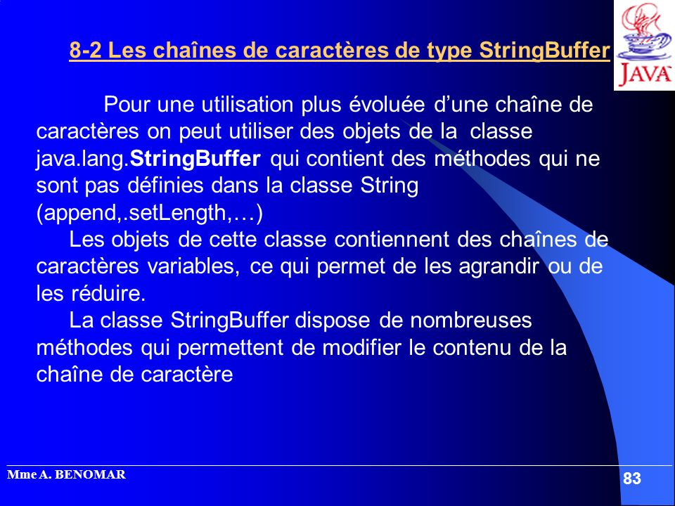 8-2 Les chaînes de caractères de type StringBuffer