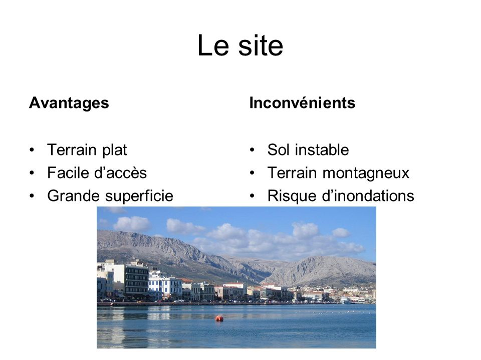 Le site Avantages Inconvénients Terrain plat Facile d'accès