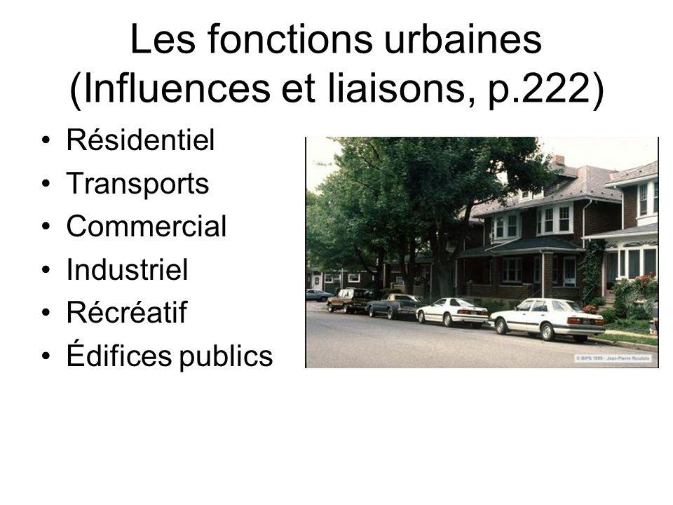 Les fonctions urbaines (Influences et liaisons, p.222)