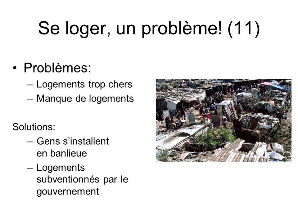 Se loger, un problème! (11) Problèmes: Logements trop chers