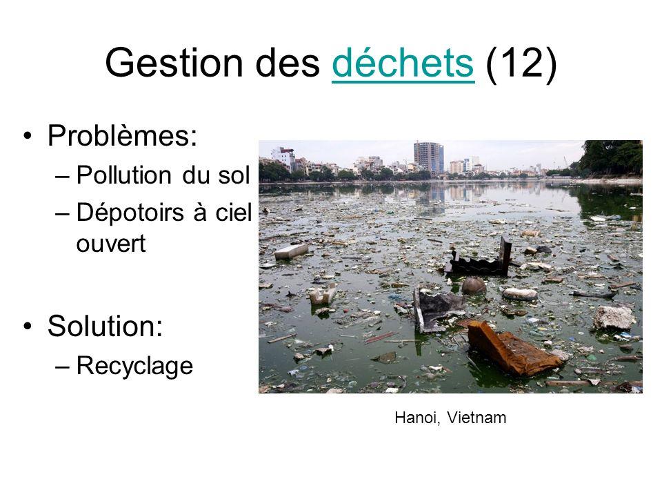 Gestion des déchets (12) Problèmes: Solution: Pollution du sol