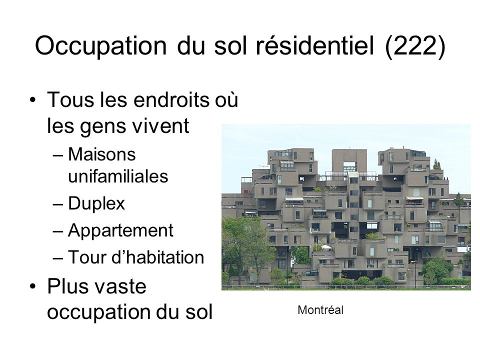 Occupation du sol résidentiel (222)