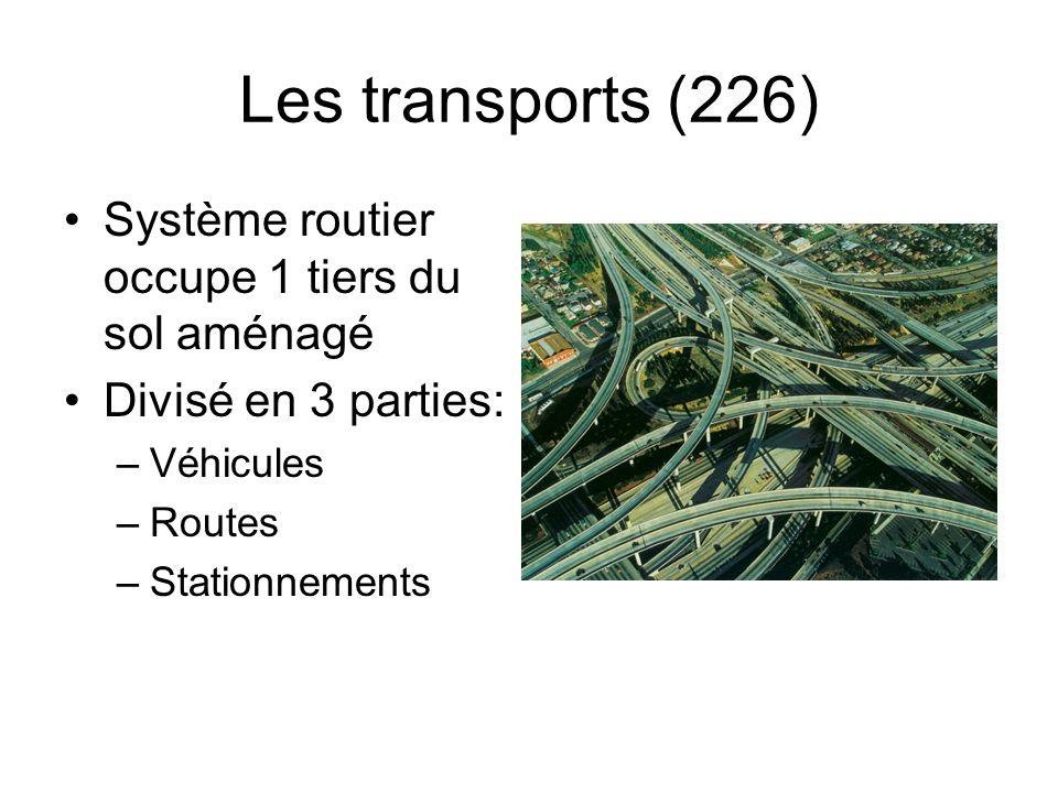 Les transports (226) Système routier occupe 1 tiers du sol aménagé