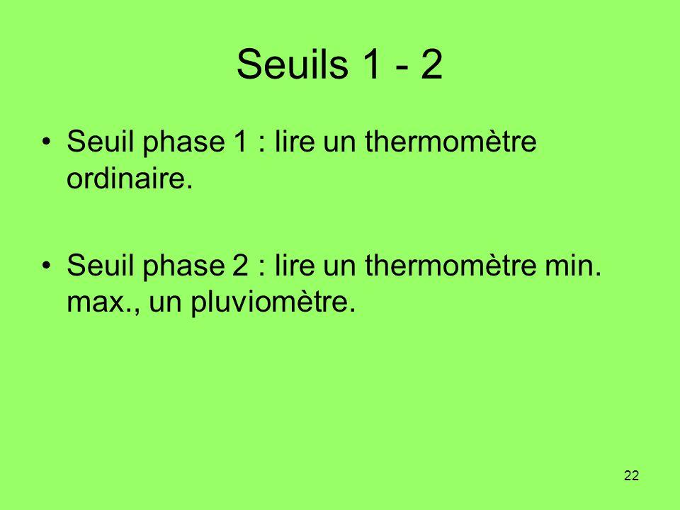 Seuils 1 - 2 Seuil phase 1 : lire un thermomètre ordinaire.