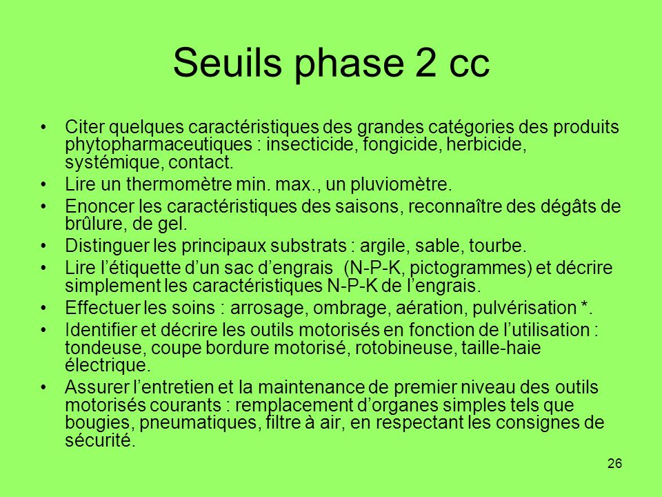 Seuils phase 2 cc
