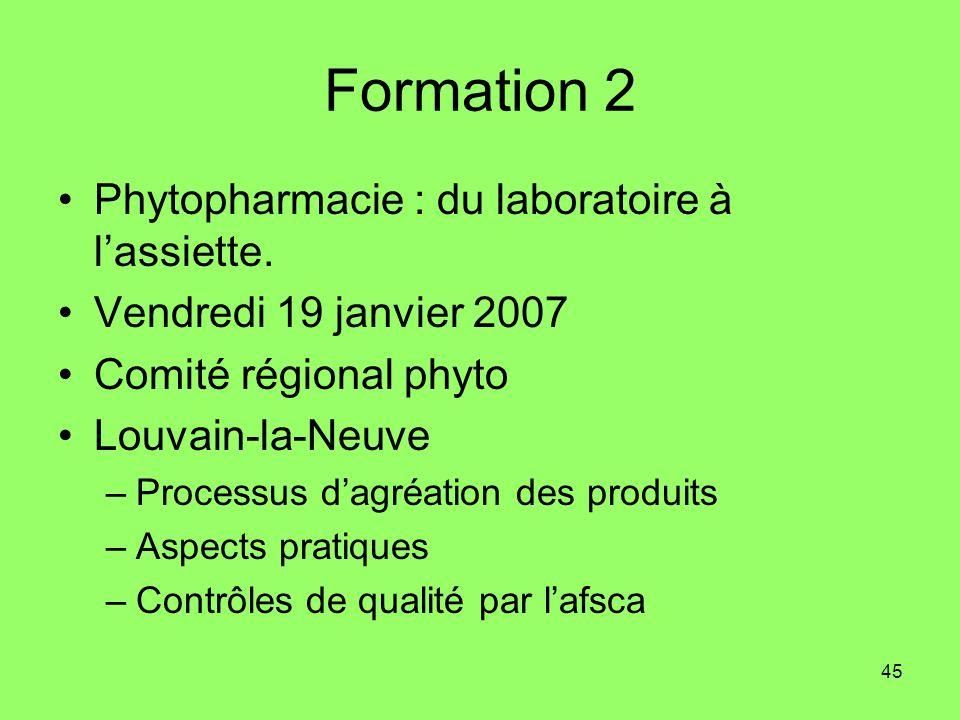 Formation 2 Phytopharmacie : du laboratoire à l'assiette.