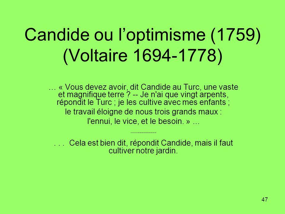 Candide ou l'optimisme (1759) (Voltaire 1694-1778)