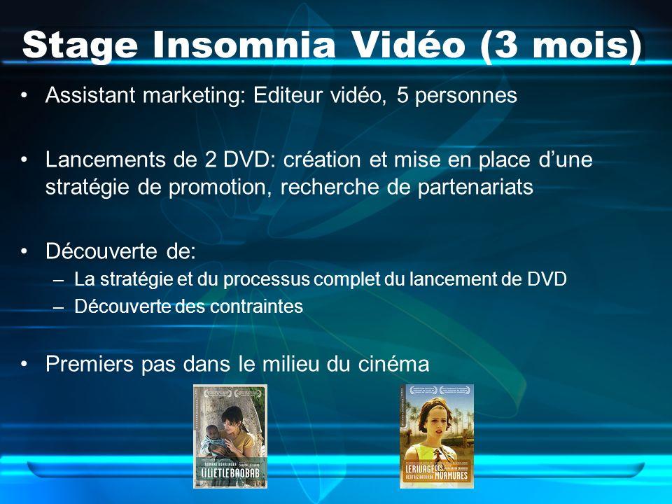 Stage Insomnia Vidéo (3 mois)