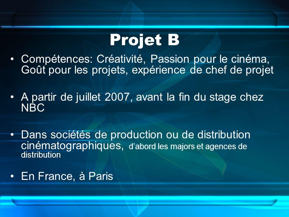 Projet B Compétences: Créativité, Passion pour le cinéma, Goût pour les projets, expérience de chef de projet.