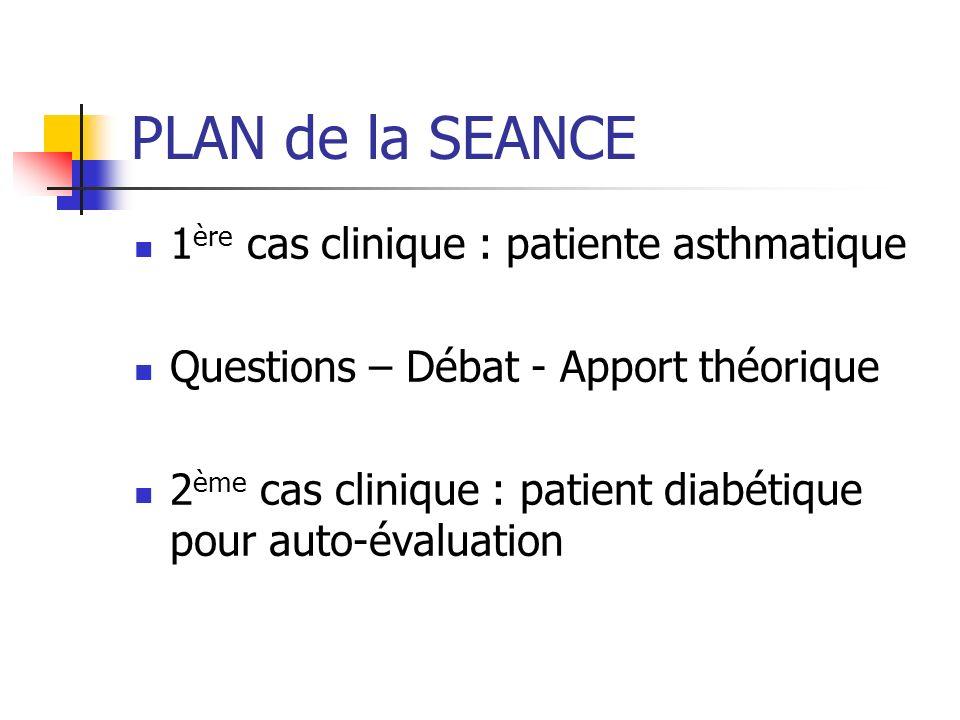PLAN de la SEANCE 1ère cas clinique : patiente asthmatique