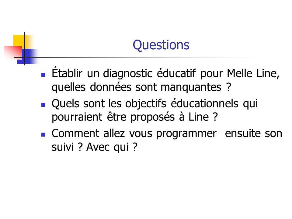 Questions Établir un diagnostic éducatif pour Melle Line, quelles données sont manquantes