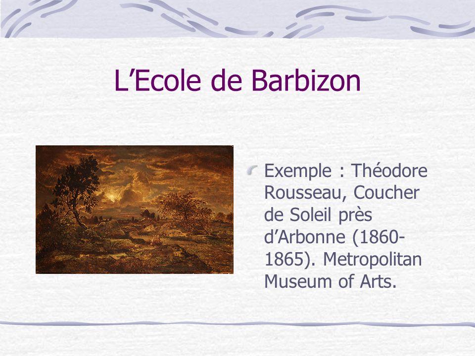 L'Ecole de Barbizon Exemple : Théodore Rousseau, Coucher de Soleil près d'Arbonne (1860-1865).