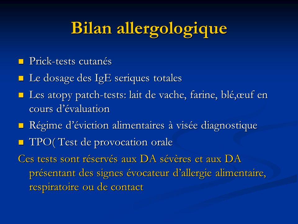 Bilan allergologique Prick-tests cutanés