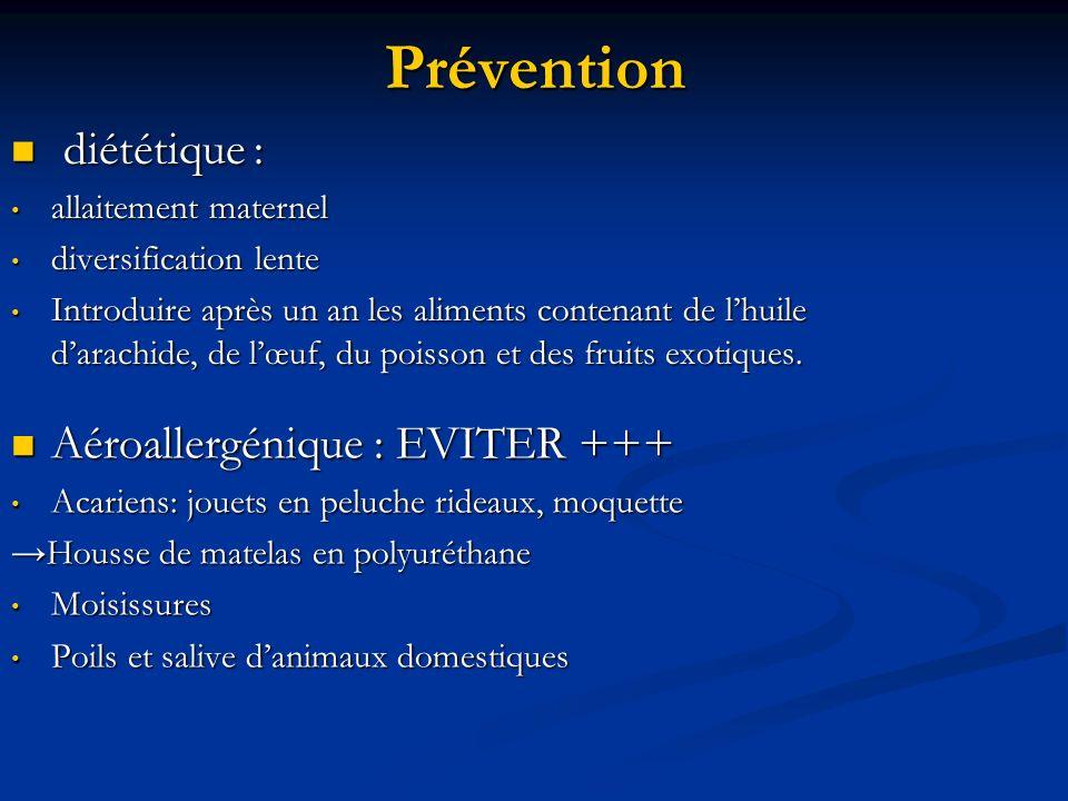 Prévention diététique : Aéroallergénique : EVITER +++