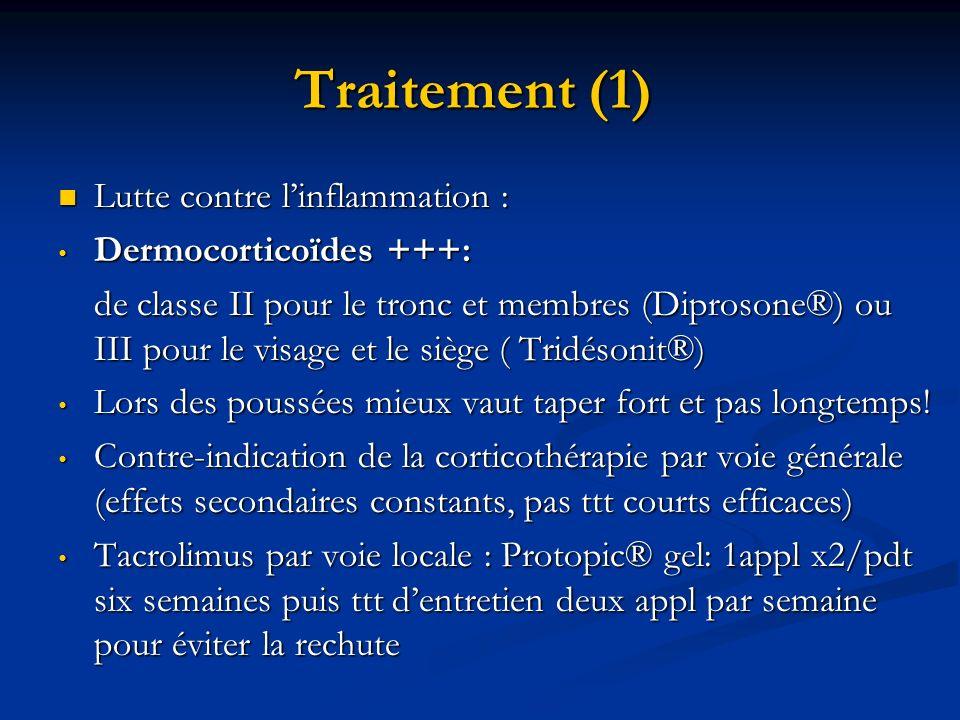 Traitement (1) Lutte contre l'inflammation : Dermocorticoïdes +++: