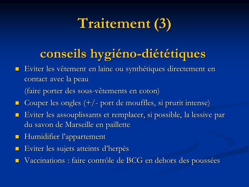 Traitement (3) conseils hygiéno-diététiques