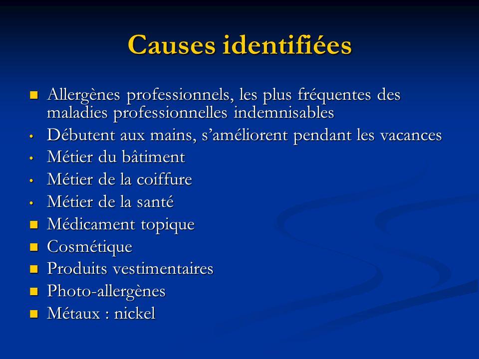 Causes identifiées Allergènes professionnels, les plus fréquentes des maladies professionnelles indemnisables.