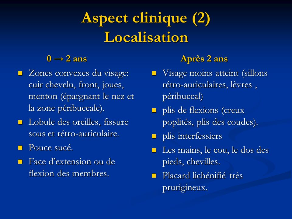 Aspect clinique (2) Localisation