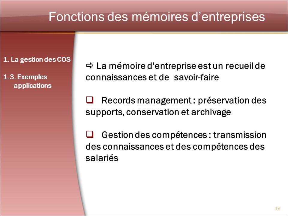 Fonctions des mémoires d'entreprises