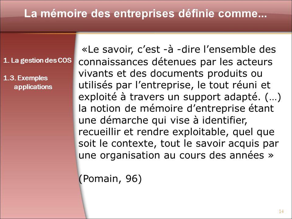 La mémoire des entreprises définie comme...