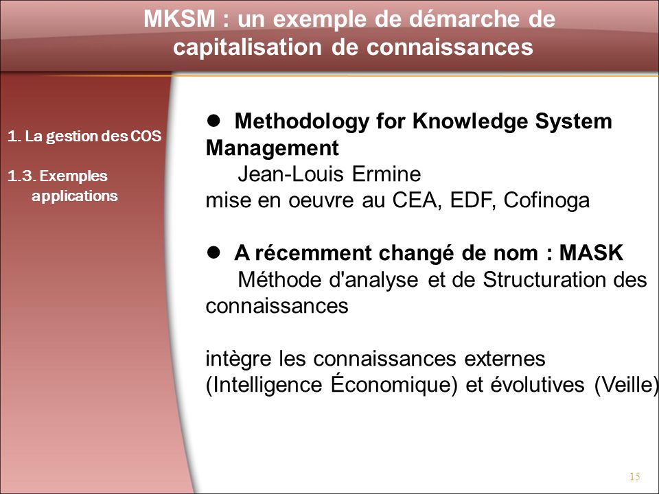 MKSM : un exemple de démarche de capitalisation de connaissances