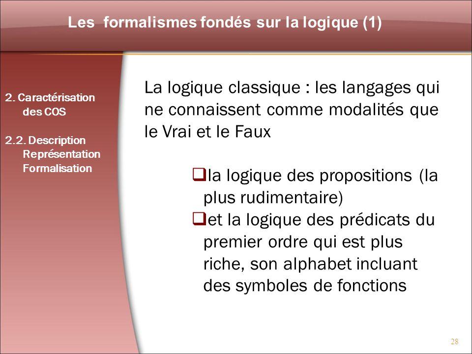 Les formalismes fondés sur la logique (1)
