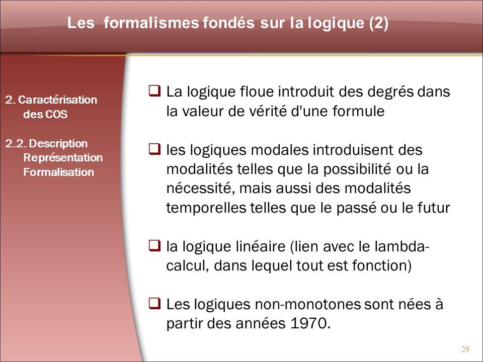 Les formalismes fondés sur la logique (2)