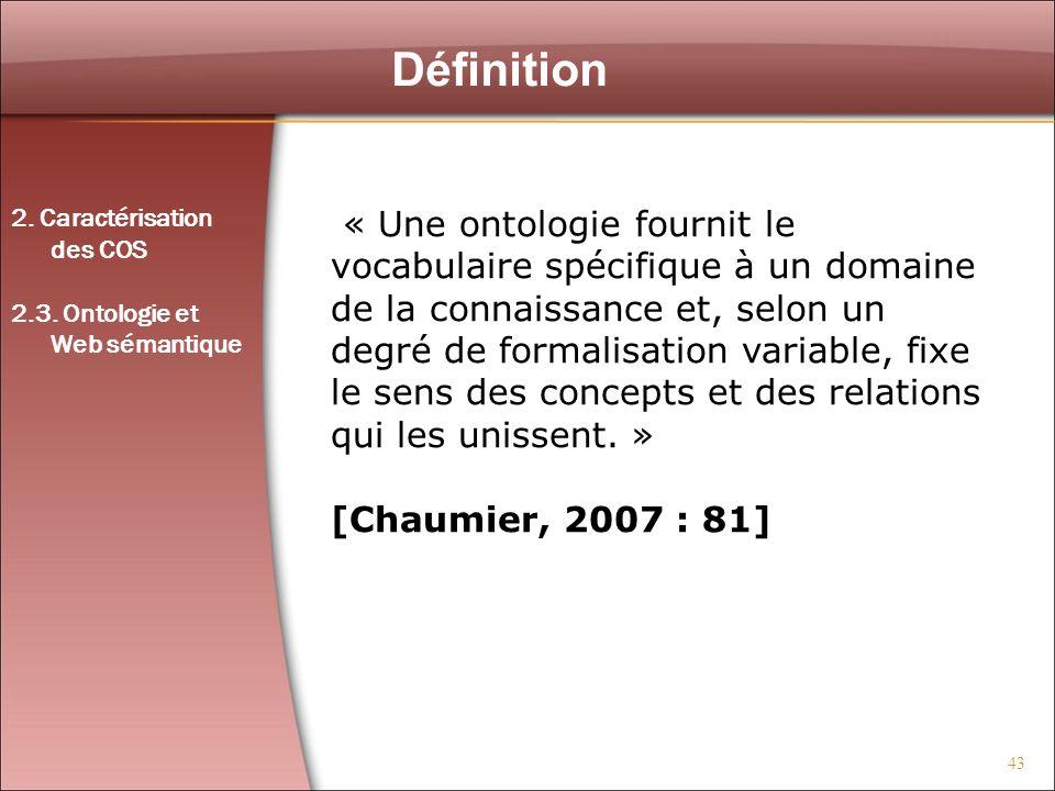 Définition 2. Caractérisation. des COS. 2.3. Ontologie et. Web sémantique.