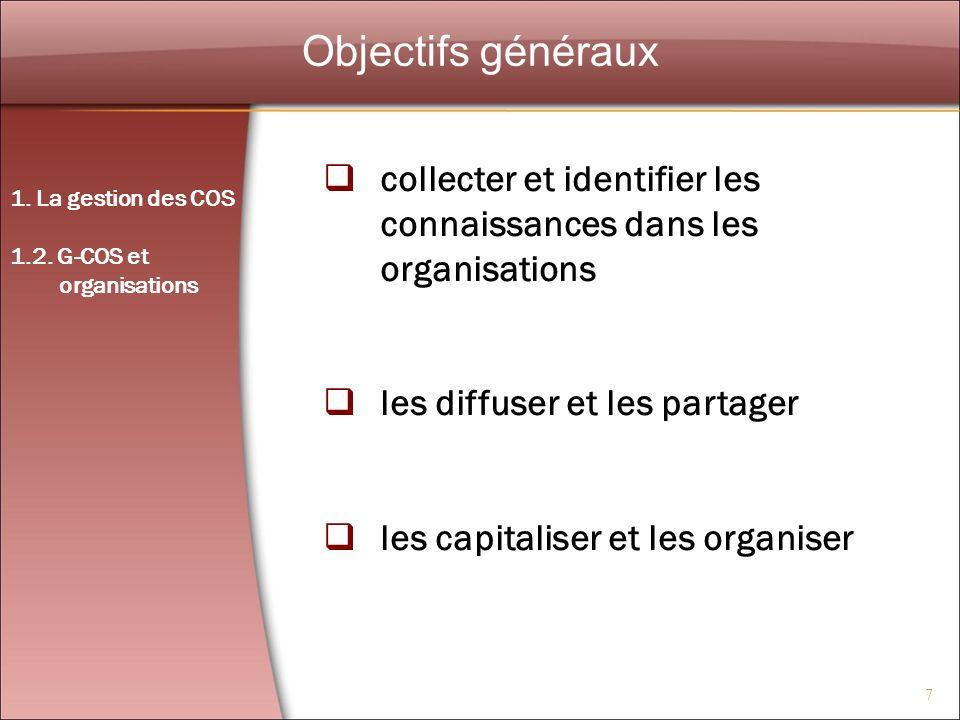 Objectifs généraux collecter et identifier les connaissances dans les organisations. les diffuser et les partager.