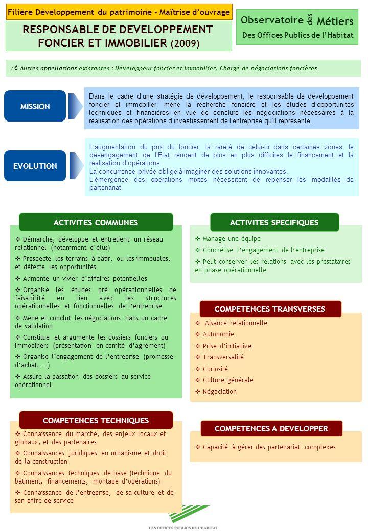 RESPONSABLE DE DEVELOPPEMENT FONCIER ET IMMOBILIER (2009)