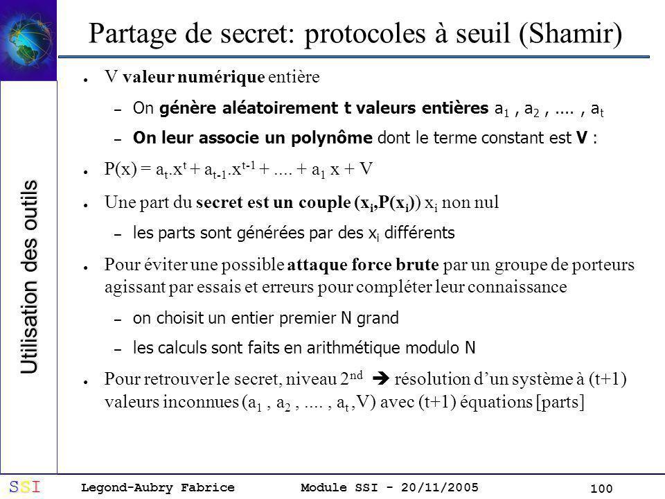 Partage de secret: protocoles à seuil (Shamir)