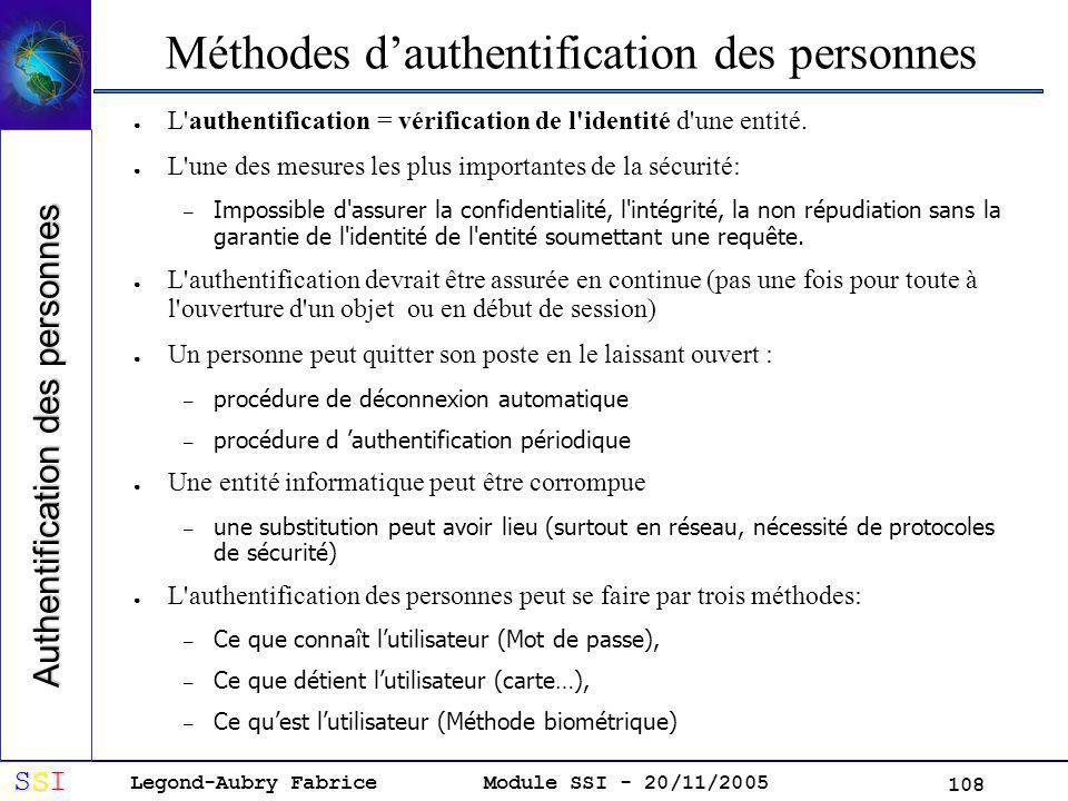 Méthodes d'authentification des personnes