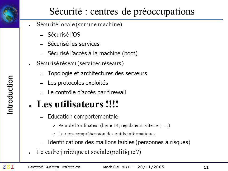 Sécurité : centres de préoccupations