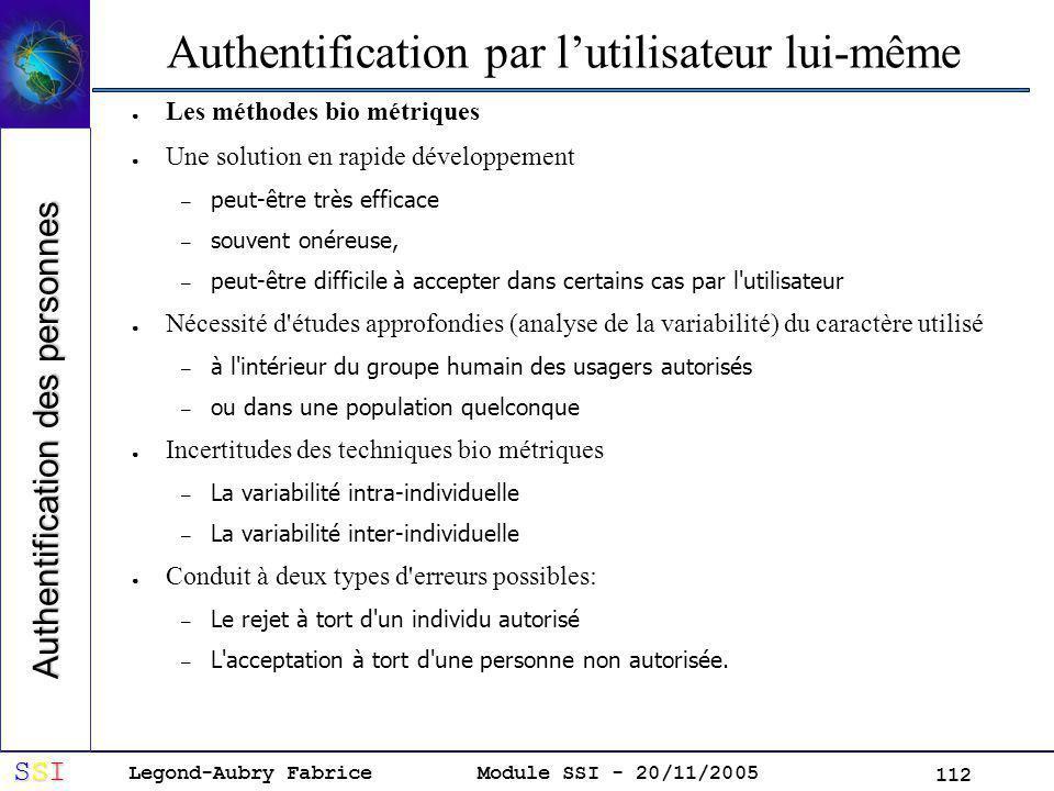 Authentification par l'utilisateur lui-même