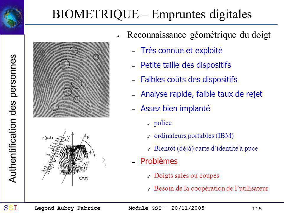 BIOMETRIQUE – Empruntes digitales