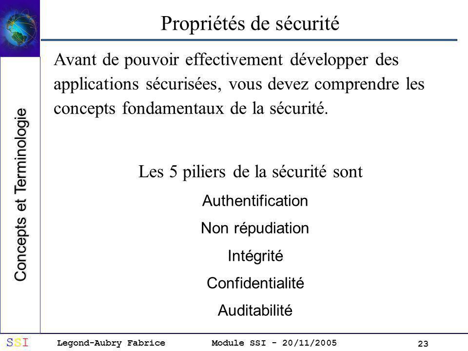 Propriétés de sécurité