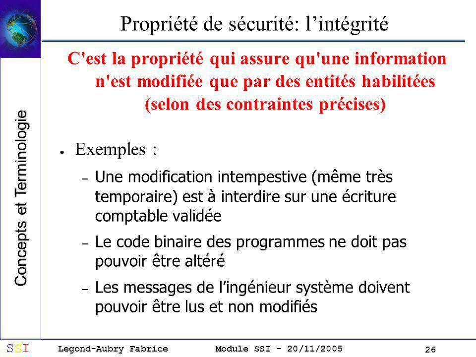 Propriété de sécurité: l'intégrité