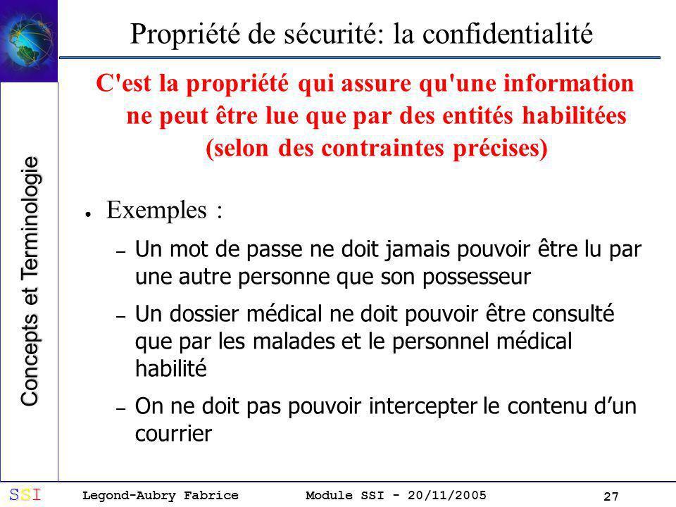 Propriété de sécurité: la confidentialité