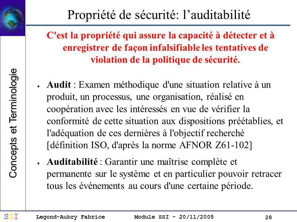 Propriété de sécurité: l'auditabilité
