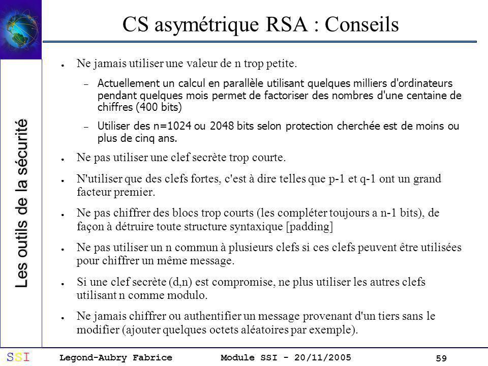 CS asymétrique RSA : Conseils