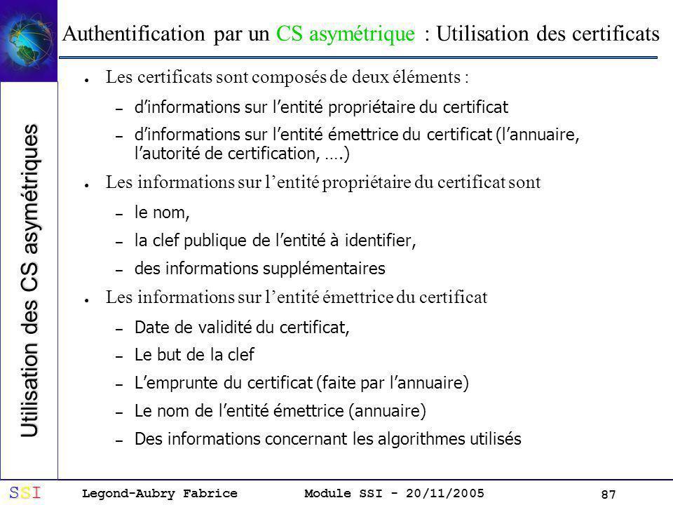 Authentification par un CS asymétrique : Utilisation des certificats