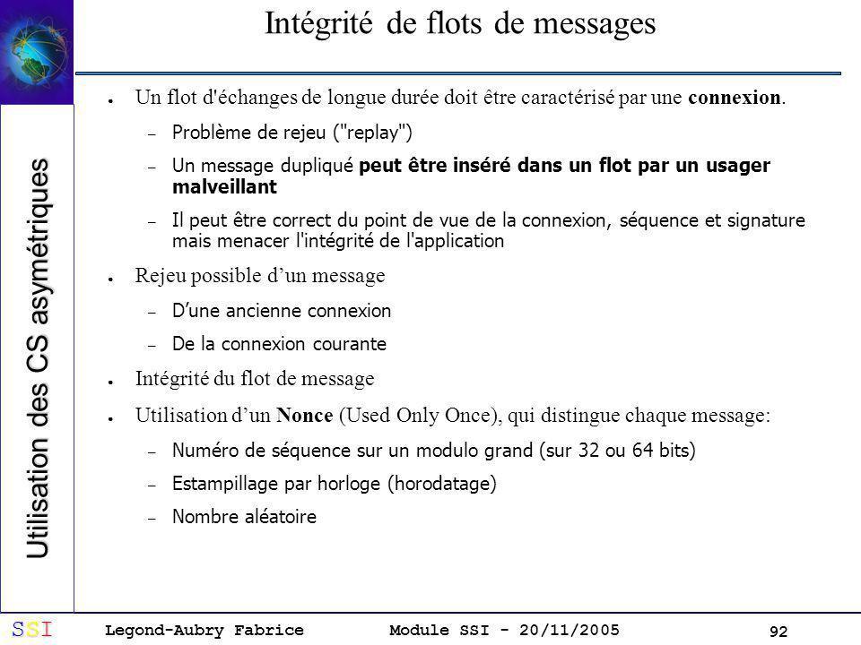 Intégrité de flots de messages