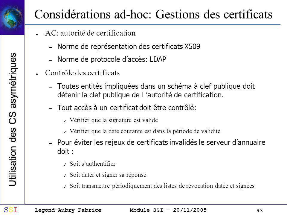 Considérations ad-hoc: Gestions des certificats