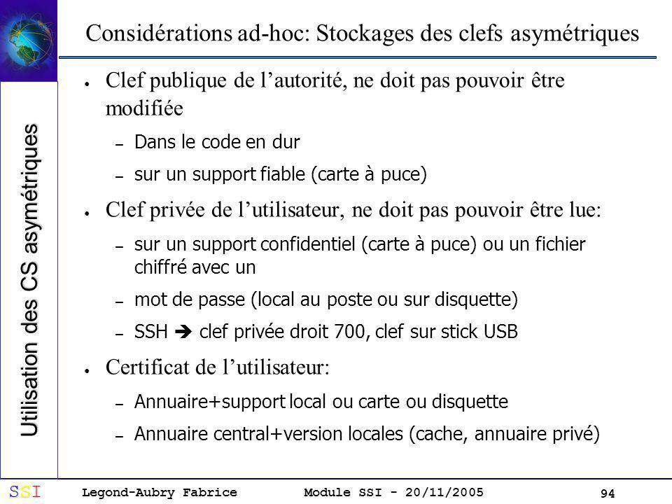 Considérations ad-hoc: Stockages des clefs asymétriques