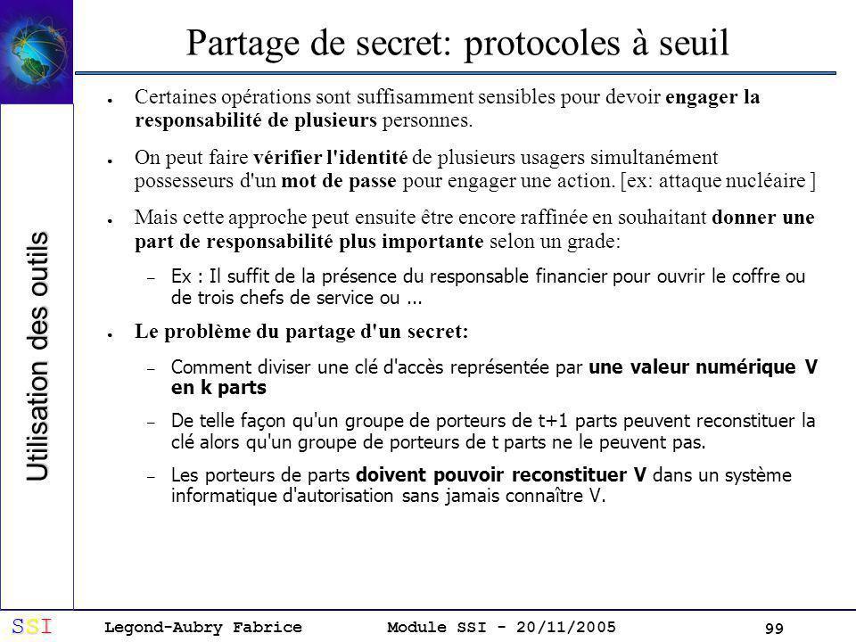 Partage de secret: protocoles à seuil