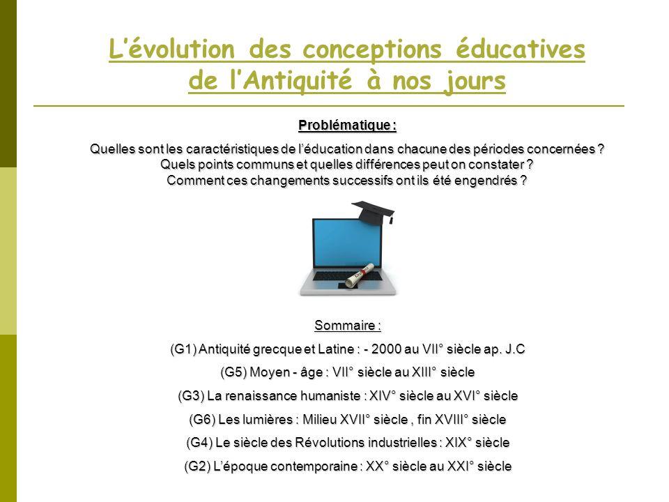 L'évolution des conceptions éducatives de l'Antiquité à nos jours