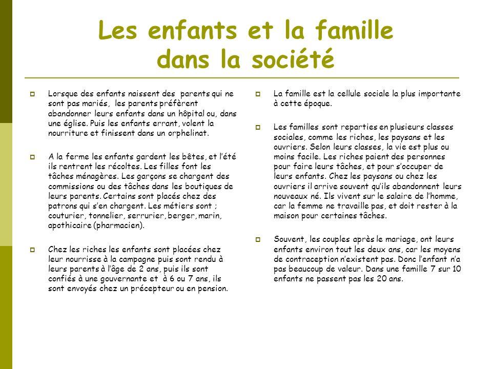 Les enfants et la famille dans la société