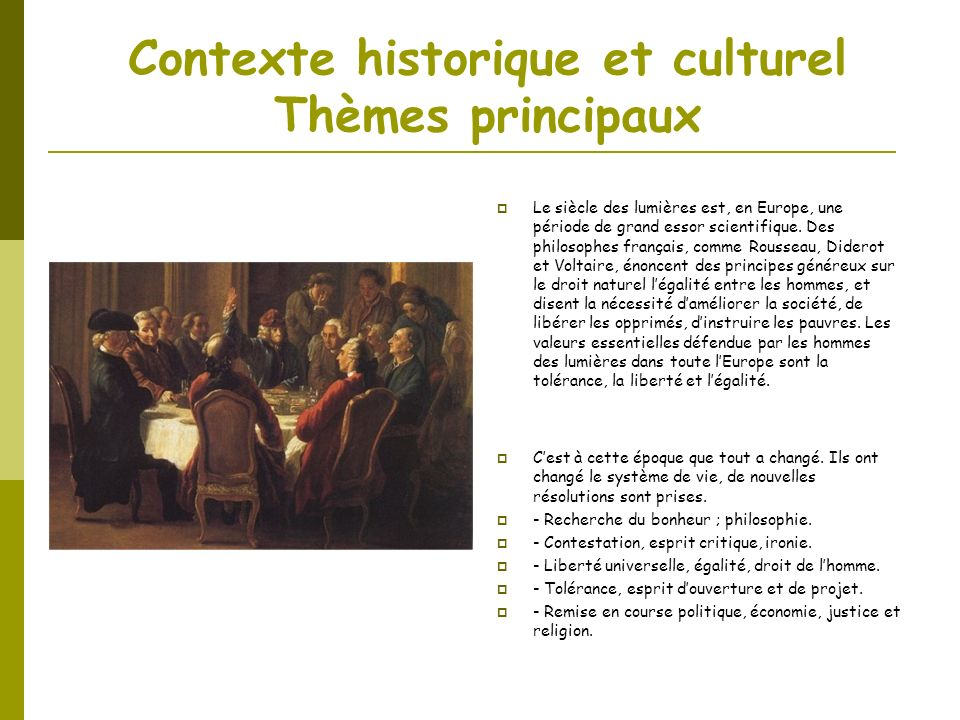 Contexte historique et culturel Thèmes principaux