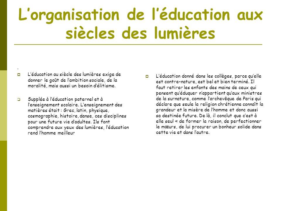 L'organisation de l'éducation aux siècles des lumières