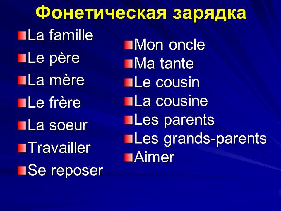 Фонетическая зарядка La famille Le père Mon oncle La mère Ma tante